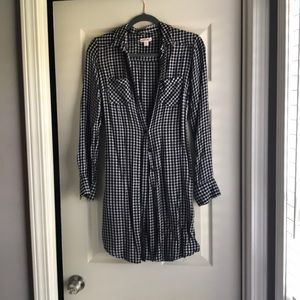 Merona Dresses - Black and White Check Button Down Dress